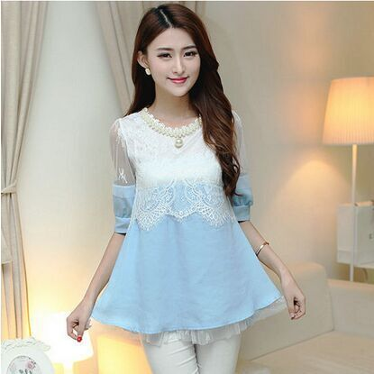 2015 new summer short-sleeved denim stitching lacing bow leisure casual openwork beaded cute blouse(China (Mainland))
