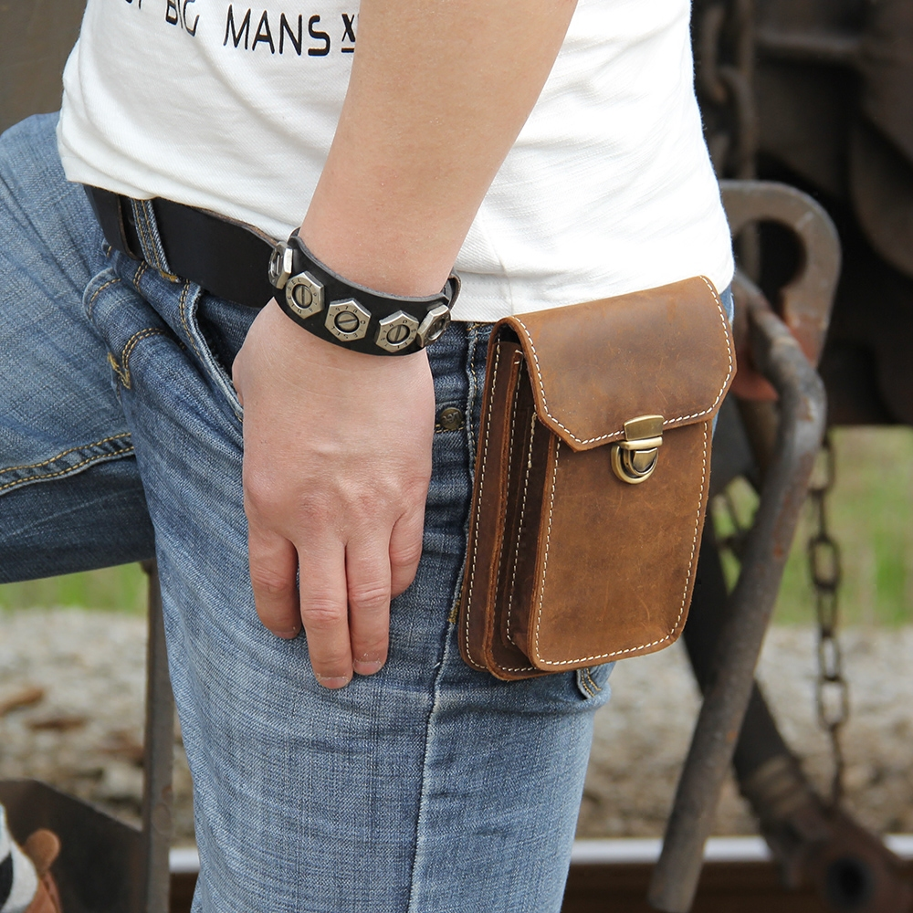 Brand New Vintage Mens Genuine Leather Small Hook Fanny Waist Bag Hip Bum Pouch Pack Male 5.5 inch Phone Holder Cigaretee Pouch(China (Mainland))