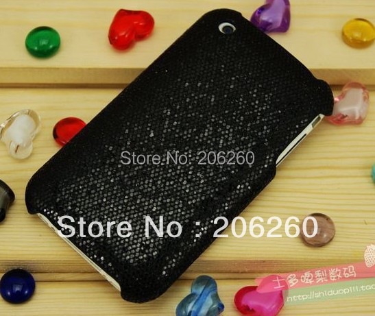 Black Bling Shining Hard Case for Iphone 3S 3G Hot sale(China (Mainland))