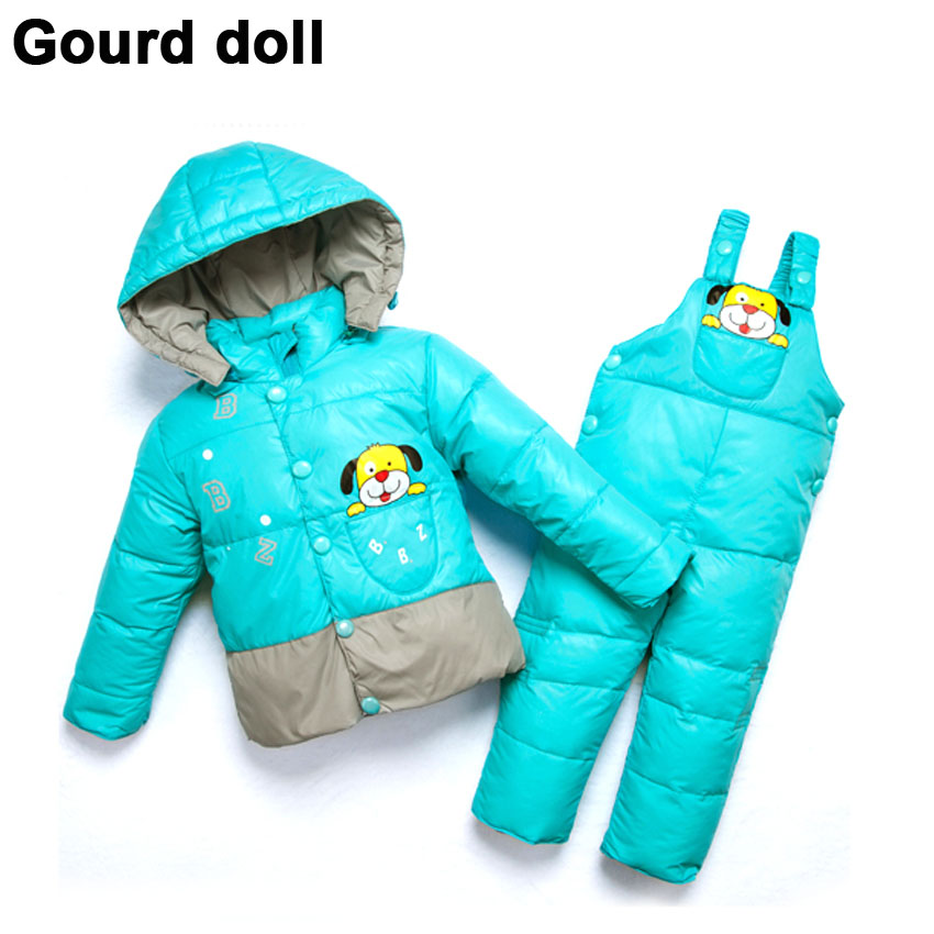 Baby boy girl warm winter outerwear & coats retail kid romper jacket clothing sets , kids parkas Suitable 6-24 month - Gourd doll Mother baby Store store