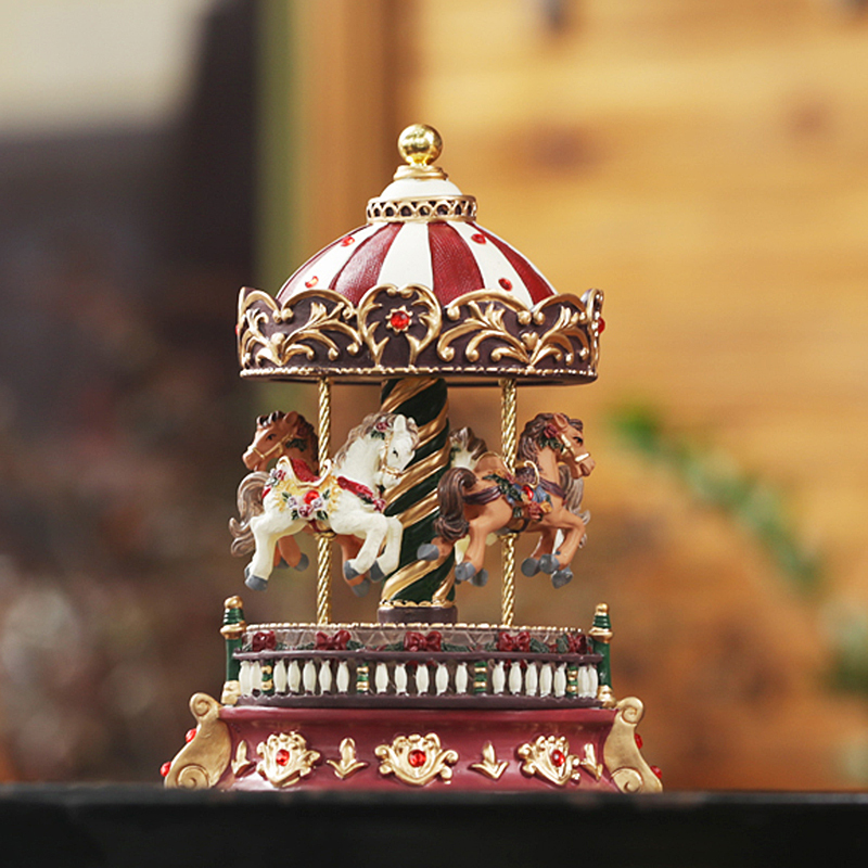 Romantic carousel music box vintage rotating music box for Unusual gifts home
