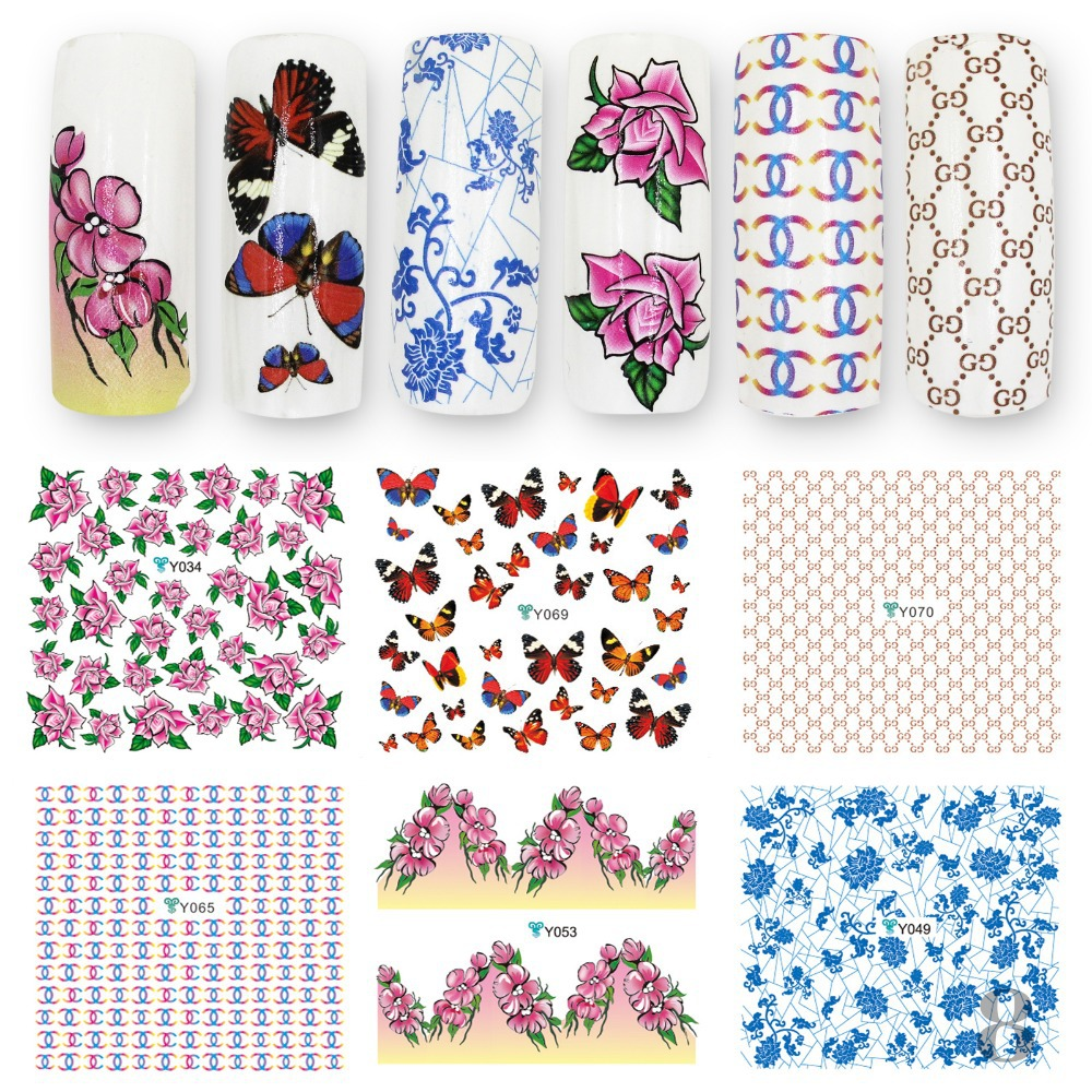 Colorful Beautiful Flowers Water Nail Stickers Art Tips Decals Freeshipping - Perfect Summer Store store