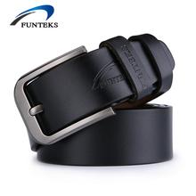 Buy FUNTEKS Belt Men Genuine Leather Luxury Strap Male Belts Men Buckle Fancy Vintage Jeans Ceinture Homme Cintos Masculinos for $9.80 in AliExpress store