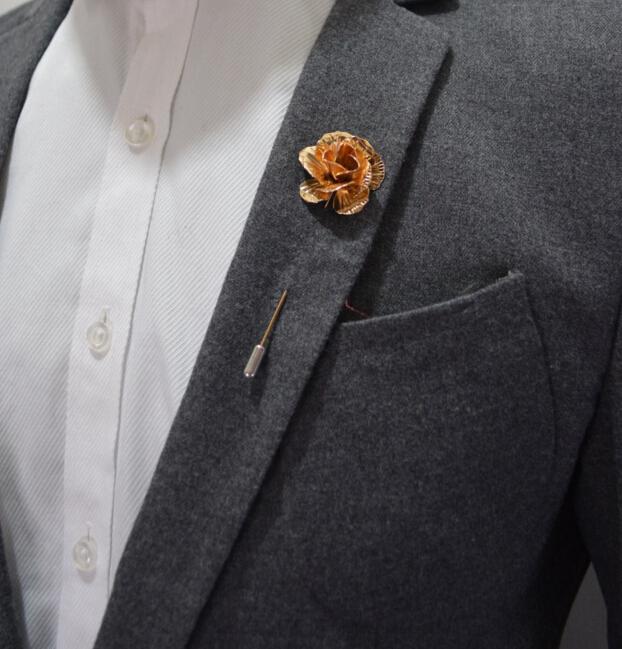Fashion crystal hand men Collar Brooch pin Men Suit Lapel