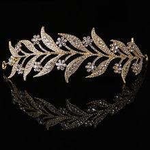 Feuille Style couronne mariée mariage diadème princesse bijoux femmes luxe reine décor(China)