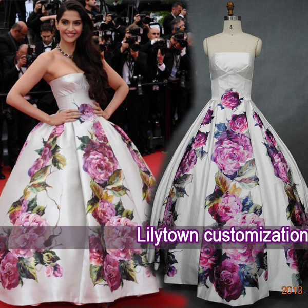 Real Picture Custom Made Strapless Puffy Satin Print Flower Floor Length Red Carpet Formal Celebrity Dresses Free Ship - Lilytown's Wedding Store store