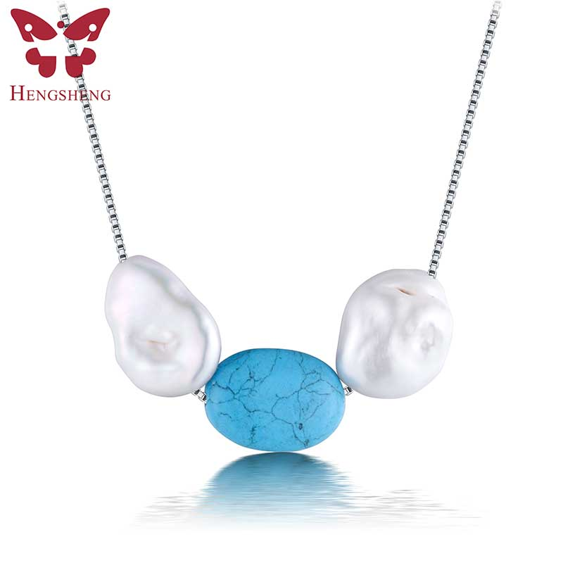 Amazing Price 2017 Bohemia women refreshing turquoise pearl necklace with red blue green turquoise white freshwater pearl(China (Mainland))