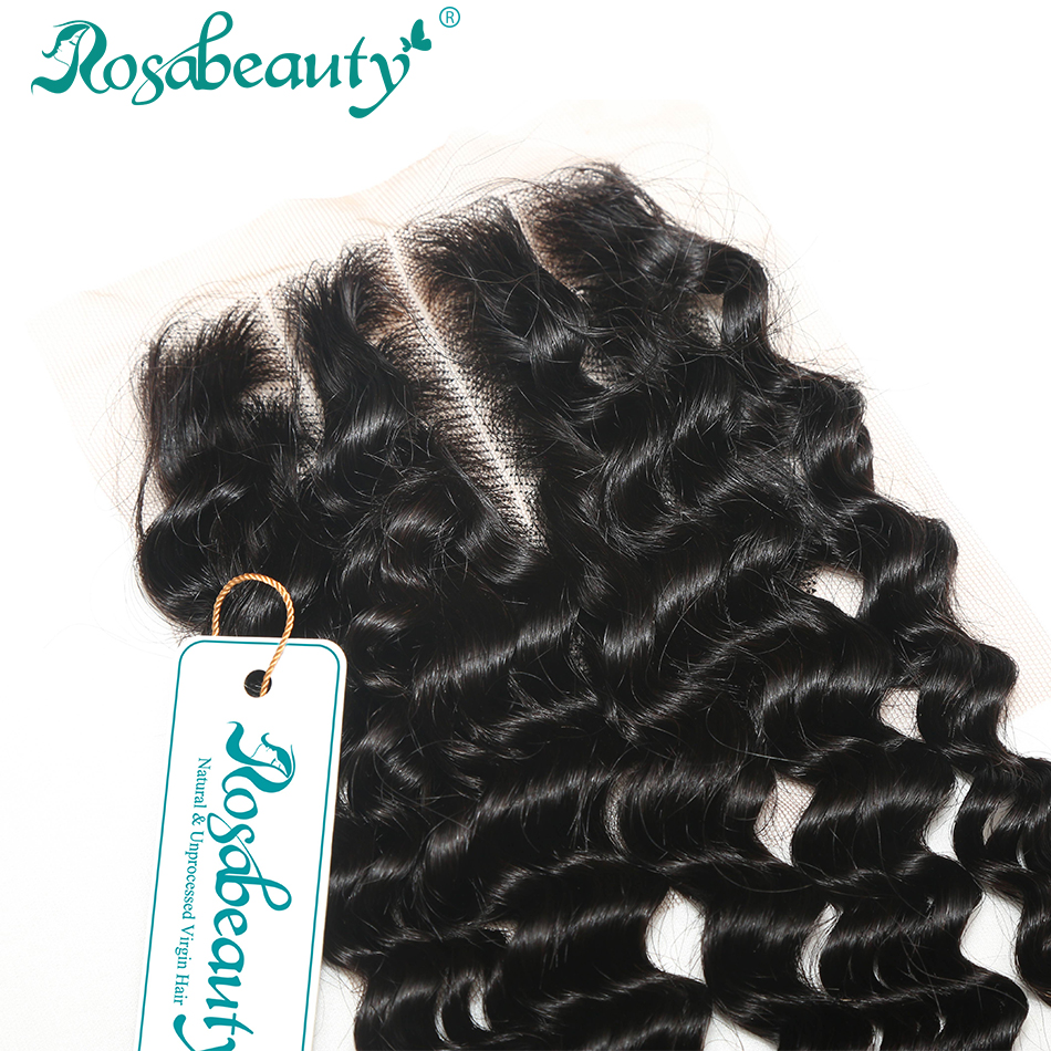 3 Part Lace Closure Brazilian Unprocessed Virgin Deep Curly Hair Bleached Knots Natural Color Free Shipping
