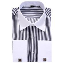 DRESSERVICE Size 4XL 5XL 6XL 2017 New Mens Striped French Cufflinks Long Sleeve Shirt Male Shirts French Cuff Dress(China)