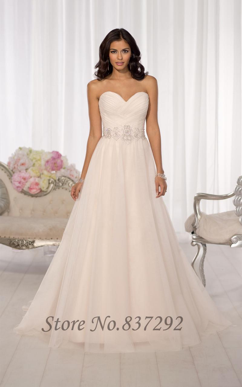 Hot sell white cheap wedding dress 2016 tulle crystal belt for Wedding dresses online cheap