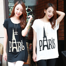 6830# White Black Modal Maternity Tees Loose Summer Tops Clothes For Pregnant Women 2015 Funny Style Pregnancy T Shirts Clothing(China (Mainland))