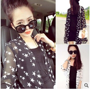 Fashion Star Style Women Sun Protection Clothing Female Chiffon Long-sleeve Air Conditioning Plus Size beach cover ups(China (Mainland))