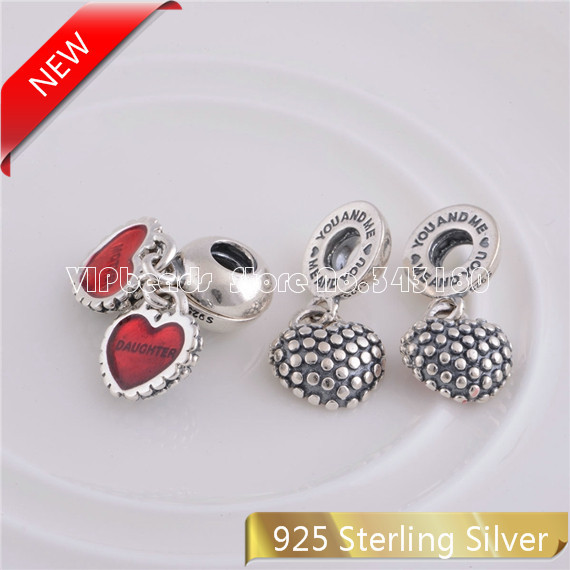 925 Sterling Silver Heart Mother daughter charm Genuine Mom bracelet European Bracelets PiECE HeART LW087 - VIPbeads store