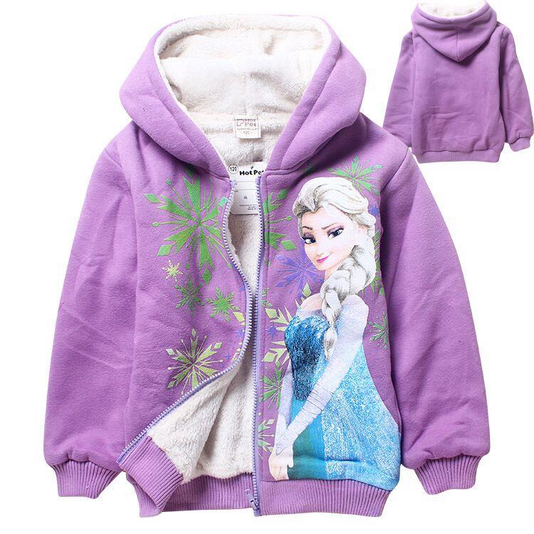 New thick fleece winter Hoodies jacket coat Anna Elsa 2015 big boys velvet jackets kids children cartoon coat(China (Mainland))