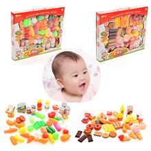 51pcs/Set or 44pcs/Set Plastic Kitchen Toy Food Fruit Vegetable Cutting Kids Pretend Play Educational Learning Toy(China (Mainland))