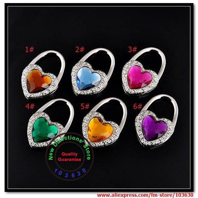 Free shipping !!! 100% guarantee quality/love lock heart shape folding bag hanger each in a velvet pouch