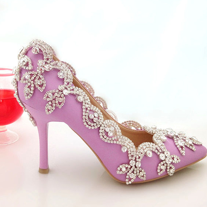 2015 glamorous popular purple wedding shoes bridal party high heels with rhinestone pointed toe. Black Bedroom Furniture Sets. Home Design Ideas