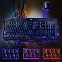 Buy New Russian / English Gaming Keyboard USB LED Wired Keyboard 3 Backlight Modes USB Powered Full N-Key Rollover LOL Game for $19.49 in AliExpress store