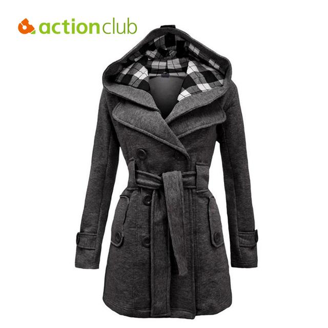2016 Новых Смесей Куртки женщин С Капюшоном Двубортный Шерстяное Пальто Длинные Зимние Куртки Куртка Пальто Верхняя Одежда для Laies