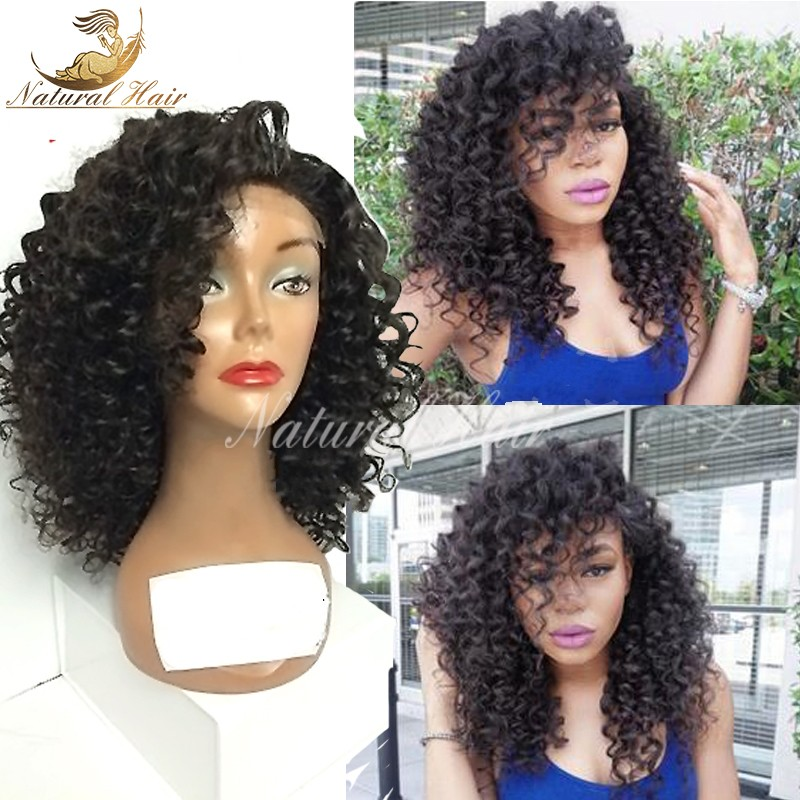 Peruvian Virgin Afro Kinky Wig Short Curly Hair High Density 100% Human Hair Glueless Full Lace Kinky Curly Wigs For Black Women
