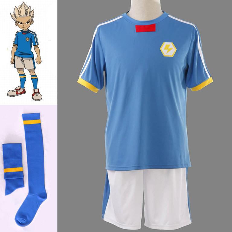 Anime Inazuma Eleven Anime Japanese Team Jersey Halloween Cosplay Costume football uniforms with socks(China (Mainland))