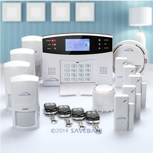 HOMSECUR Wireless&wired GSM SMS Home Security Alarm System +4PIR Sensors(China (Mainland))