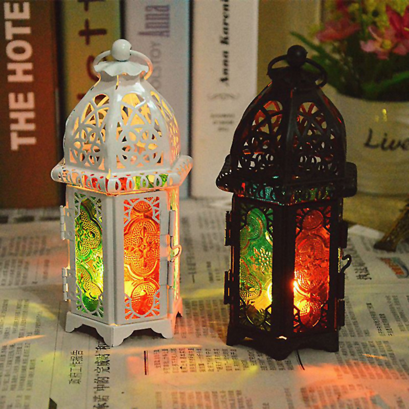 2016 Vintage Glass Crystal Metal Hollow Candle Holder Colorful Moroccan Hanging Lantern Candlestick Wedding Decor VF063 T12 0.5(China (Mainland))