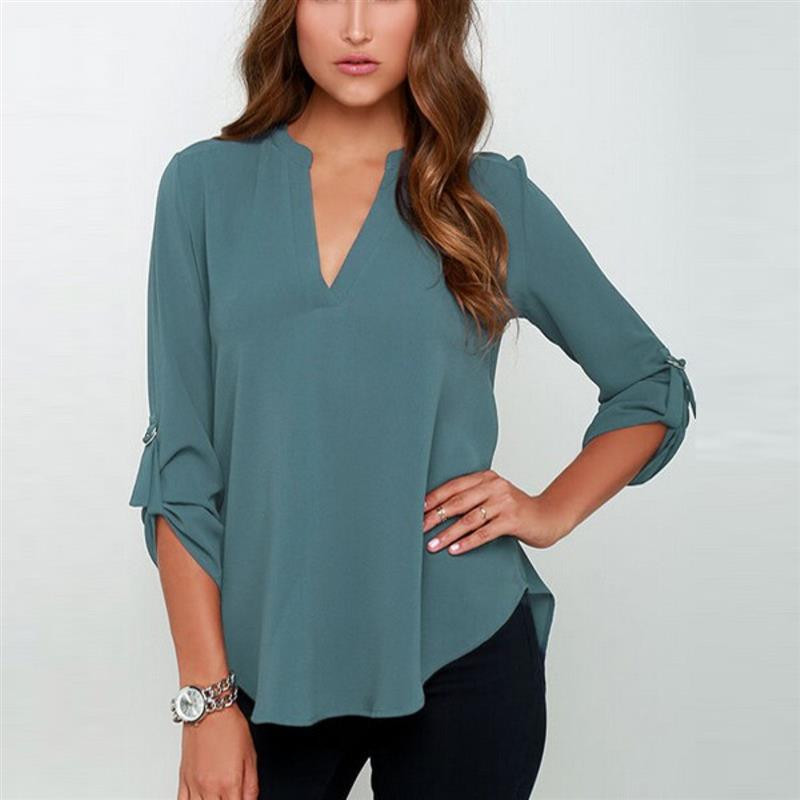 2016 top sales big sizes women clothes V-neck long-sleeved blouse wrinkled sleeve loose casual chiffon shirts women 7 colors