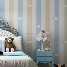 Children room non-woven wallpaper bedroom warm simple men and women study covered with pink vertical striped wallpaper(China (Mainland))