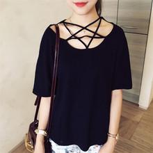 2016 New Pentagram Black Short Sleeve Cotton Hollowed Strap T-shirt Fashion Loose Ladies T Shirt Girl Personality Stitching Tops(China (Mainland))