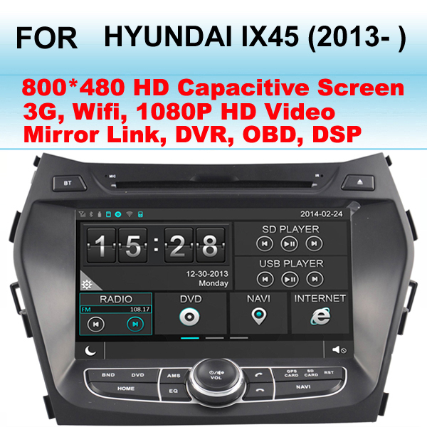 For Hyundai IX45 Car Radio 2013- Support WIFI 3G Support GPS Dual Zone (Listen Radio/CD While GPS Image)(China (Mainland))