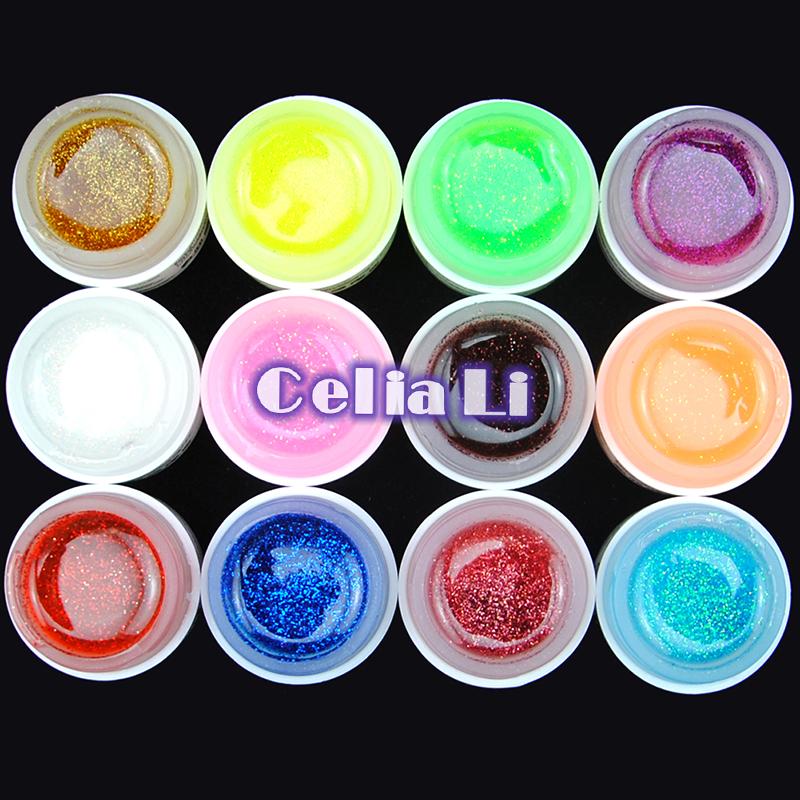 COSCELIA 12 Color Fine shine GLITTER UV GEL colorful Builder NAIL ART Polish Set Tips Nail Tools Kit Free Shipping(China (Mainland))
