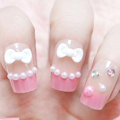 3 box nail art bride finished products sclerite 3d glue crystal false nail patch finger n