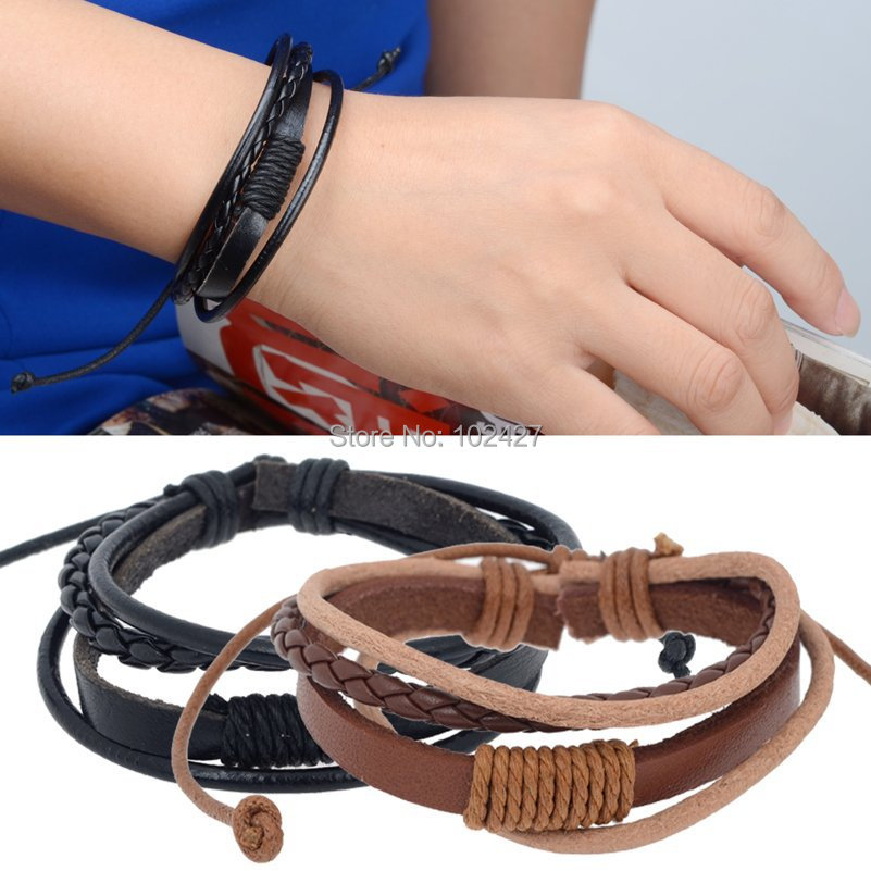 Hot Bracelets Women Fashion Jewelry Wrap Multilayer Leather Braided Rope Wristband Men & Bangles Black Brown - Mixlot Store store