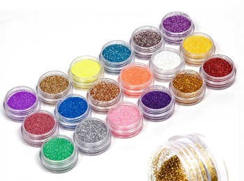 18 Colors/set Nail Art acrylic Glitter Powder Dust For UV GEL Acrylic Powder Decoration nail gel nail tools