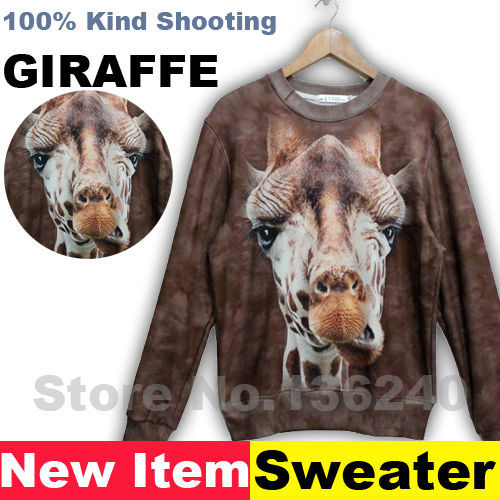 New 2013 Free shipping Winter Tide brand lovers cute long-sleeved sweater pullovers 3D stereoscopic animal prints men jacket
