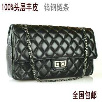 FREE SHIPPING Black chain bag plaid 2.55 replica sheepskin shoulder bag version of genuine leather female bags 2013 classic BLWX