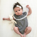 0 24M Baby Clothing Baby Girls Romper Plaid Summer Sleeveless Cotton Lacelace Lotus Collar Princess Infant
