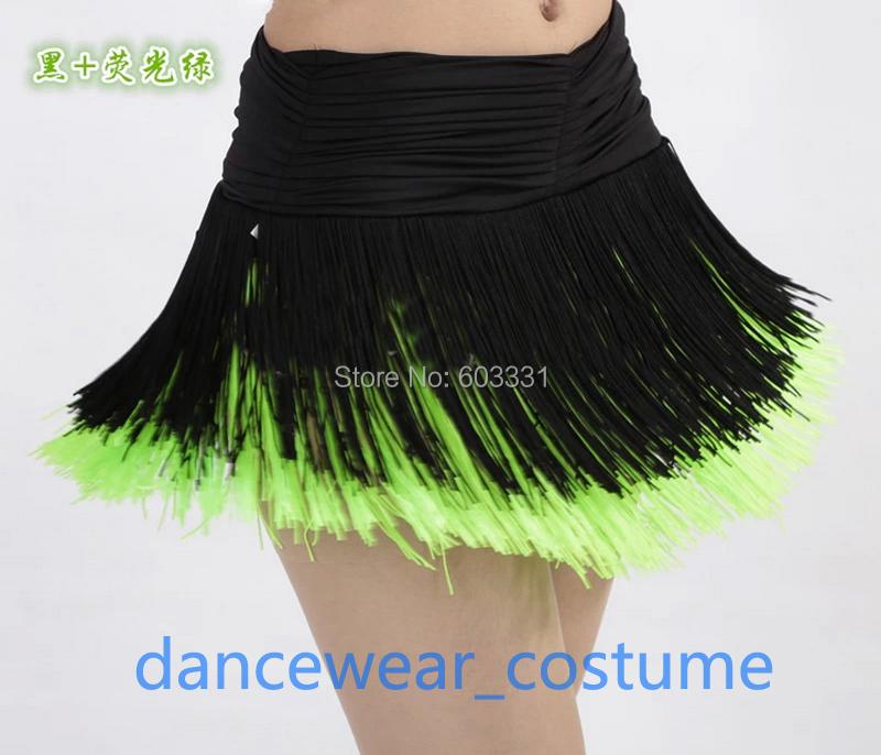Ladies Women's Party Prom Ballroom Latin Competition Practice Dance Dress Fringe Tassels Skirt Black Green 3SZ - dance dress store