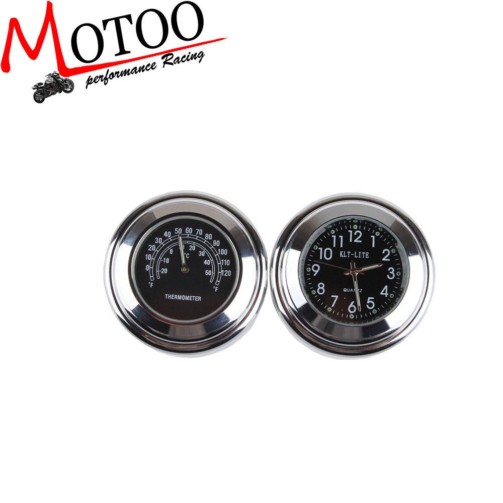 Motoo - 7/8 inch 1 Motorcycle Handlebar Black Dial Clock Temp Thermometer honda Harley yamaha kawasaki motorcycle parts co., LTD store