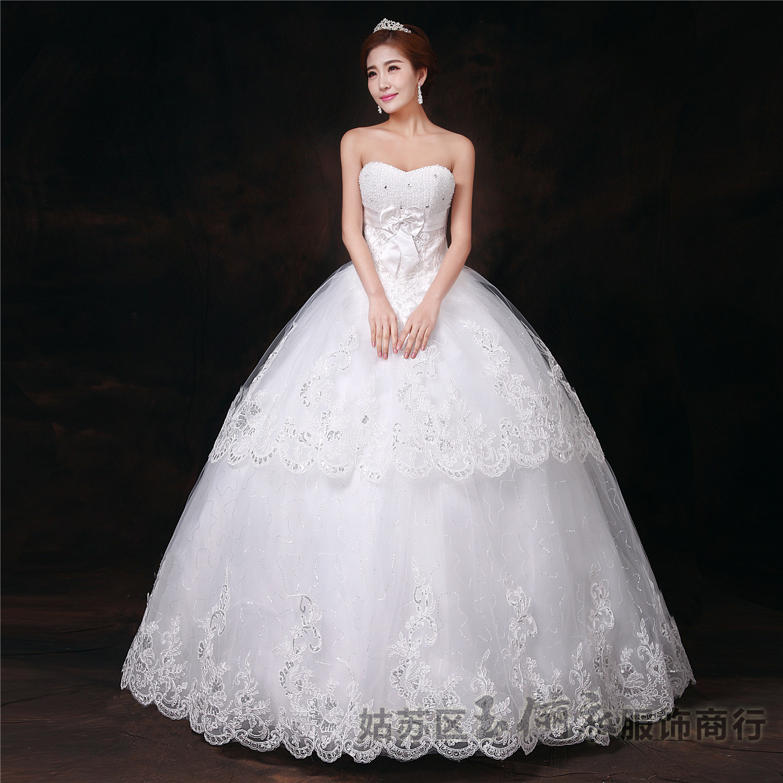 The 2015 Suzhou white wedding dress manufacturers Qi bride band stomacher butterfly knot wedding QP0084(China (Mainland))