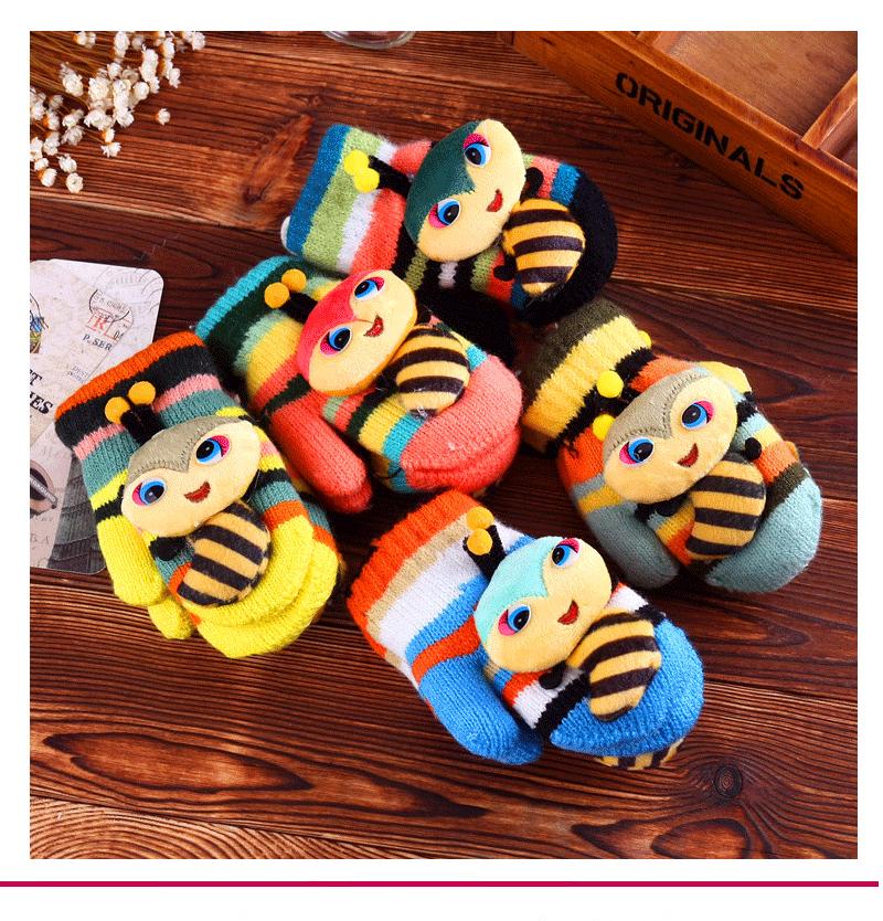 Kids Toddler bee Pattern Mittens Warm Winter Gloves Boy Girl Knit Gloves winter