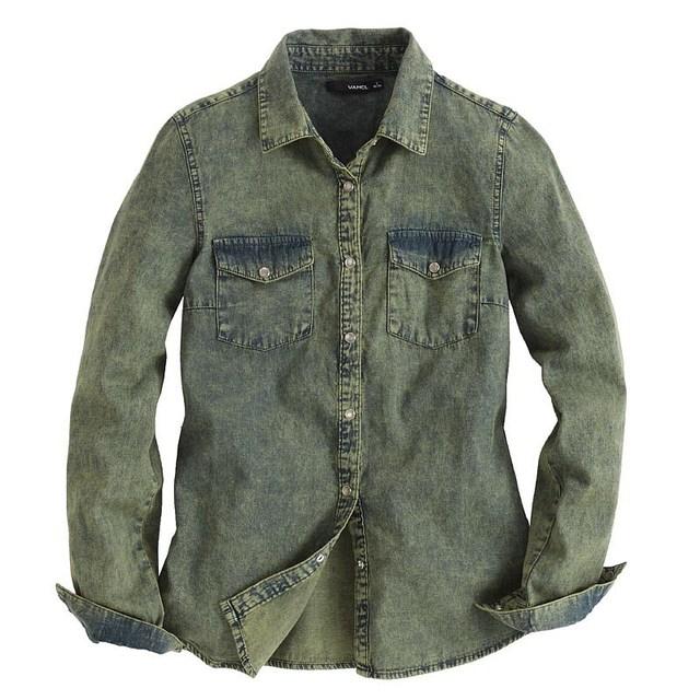 2013 NEW VANCL Women 100% Cotton Lilly Bleached Denim Shirt Vintage Denim Classic Shirt Turndown Collar FREE SHIPPING