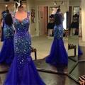 Royal Blue Mermaid Prom Dress 2016 Hot Design Vintage Crystals Long Open Back Tulle Evening Dresses