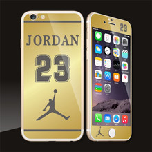For iphone6plus/6splus Mirror Plating Jordan 23 Pattern Front Back Screen Tempered Glass Film Phone Protector Skin Cover Sticker
