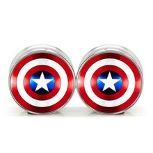 1 pair plugs stainless steel Captain America double flare ear plug gauges tunnel body piercing jewelry PSP0018