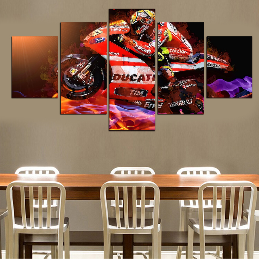 Hot Sell 5 Pieces Popular Modern Cool Motorcycle Wall Painting Home Wall Art Picture Paint On Canvas Prints No Framed