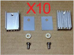 10 x  TO-220 Black Heatsink Heat Sink  15*20 with screw