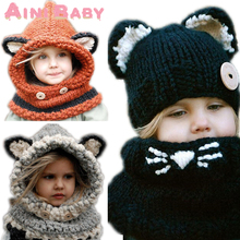 Cute !! 2016 New Winter Fox Headgear Crochet Kids Beanies Baby Hats For Girls/Boys Warm Baby Cap Infant Knit Children Thck Hat (China (Mainland))
