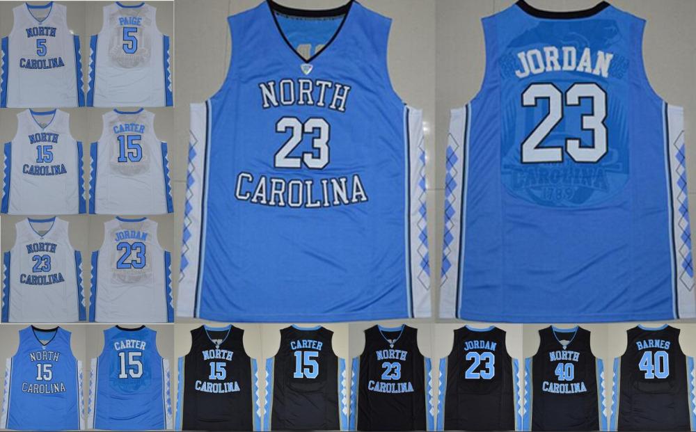 New North Carolina Jersey 15 Vince Carter Jersey 11 Brice Johnson 40 Harrison Barnes 5 Marcus Paige College Basketball Jerseys(China (Mainland))